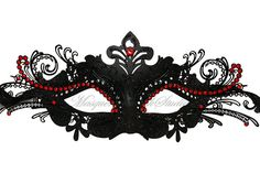 Black  Masquerade Mask-  Venetian Mask Luxury Laser Cut Metal Masquerade Ball Mask  with Red Crystals on Etsy, $37.95