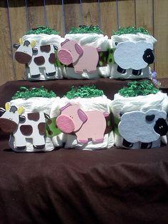 "Barnyard Animals Cow/Pig/Lamb Baby Shower  ""cakes"""