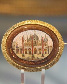 Roman Micro Mosaic brooch set in gilded silver,19th century (of St Mark's Venice)