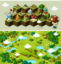 Happy Town on Behance Isometric Drawing, Isometric Design, Top Down Game, Map Games, 2d Game Art, Game Ui Design, Game Props, Game Concept Art, Environment Concept Art