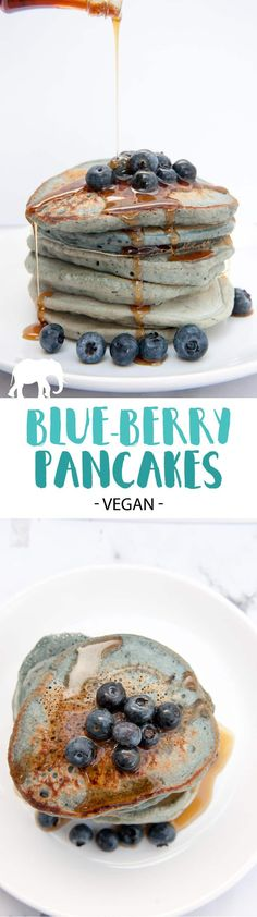 Vegan Blue-Berry Pancakes that are naturally colored with blueberries. Topped with fresh blueberries and maple syrup. Easy to make and great for kids!