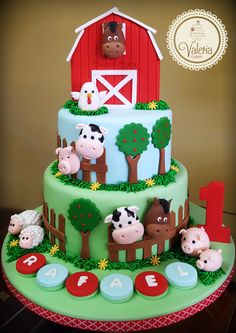 Farm cake / Torta granja ❤️ The Effective Pictures We Offer You About farm animals clipart A quality Farm Animal Cakes, Farm Animal Party, Farm Animal Birthday, Barnyard Cake, Barnyard Party, Farm Party, Farm Birthday Cakes, Birthday Banners, 2nd Birthday