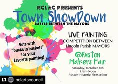 The @nclartscouncil has managed to gather several Mayors from Lincoln Parish to compete in a live painting contest at the Makers Fair this morning.  Bring your dollar bills to vote for the best painting! #art #rustonmakersfair #rustonevents #rustonarts #rustonla #supportthearts