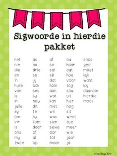 Afrikaanse Sigwoorde Graad 1 Kleur In! Afrikaanse Sigwoorde Graad 1 Kleur In! Preschool Education, Preschool Learning Activities, Preschool Worksheets, Book Activities, Kids Learning, Teaching Letter Recognition, Teaching Letters, Afrikaans Language, All About Me Preschool