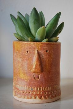 little succulent pot by Stella Baggott. Love this pot! Succulent Pots, Cacti And Succulents, Planting Succulents, Planting Flowers, Indoor Garden, Indoor Plants, Garden Planters, Face Planters, Planter Pots