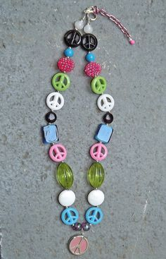 Peace Sign Chunky Necklace Pink Blue Black by PrincessIzzyBoutique, $16.50