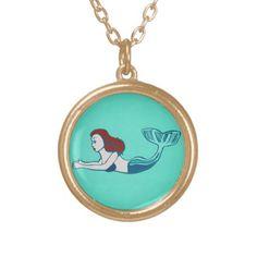 Mermaid with Turquoise Necklace; Abigail Davidson Art; ArtisanAbigail at Zazzle