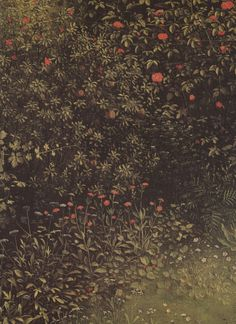 Jan van Eyck aka Johannes de Eyck (Flemish, ca. 1390–1441, b. Maaseik, Belgium) - Blühende Sträucher und Pflanzen (Flowering Shrubs and Plants), 15thc   Paintings: detail of the polyptych of Adoration of the Mystic Lamb (The Ghent Altarpiece)