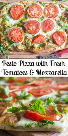 Pesto Pizza is the perfect delicious change from a regular Pizza Margherita, a creamy Pesto makes the perfect base, then topped with slices of fresh tomatoes and shredded mozzarella. Pizza night never tasted so good! Margarita Pizza, Flatbread Pizza, Tomate Mozzarella, Fresh Mozzarella, Pizza Recipes, Cooking Recipes, Easy Cooking, Healthy Cooking, Healthy Food