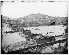 Harper's Ferry in 1862.  The Baltimore and Ohio bridge was destroyed during the Civil War. Library of Congress.