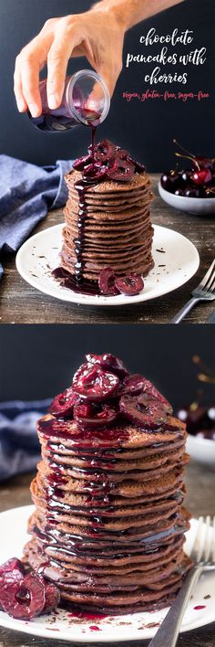 Vegan chocolate pancakes with cherries make a delicious summer breakfast or dessert. They are easy to make, vegan, refined sugar free and gluten-free. Chocolate Pancakes, Vegan Chocolate, Chocolate Recipes, Delicious Chocolate, Chocolate Roulade, Chocolate Smoothies, Chocolate Shakeology, Lindt Chocolate, Chocolate Drizzle