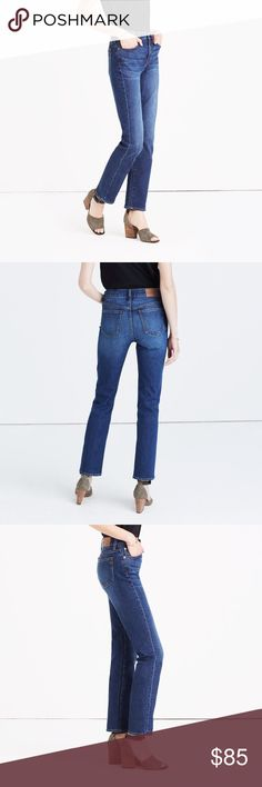 """Madewell cruiser straight NWT sold out true cool-girl fit, our new straight-leg jeans have the look of a just-right vintage find (i.e., they look particularly great from behind). Made of best-of-the-best denim, this pair is perfectly cropped to flash ankle boots or sneakers. Premium 100% cotton denim from Italy's Candiani mill. Vintage-inspired. Sit above hip, fitted through hip and thigh, with a straight leg. Front rise: 10""""; inseam: approx 27-28"""" Machine wash. Madewell Jeans Straight Leg"""