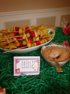 for a fairy party....fruit wands...fruit including star fruit, skewers, and nutella dip