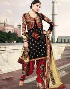 Occasion	Party Wear,Reception Wear,Designer Wear Collection	Punjabi Suit Color	Black,Red Fabric	Faux Georgette Work	Embroidered,Lace Work,Border work Season	Any Weight	1 K.G