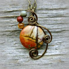 Picasso Jasper Wire Wrapped Pendant Necklace As Gifted to CMA Celebrities by CareMoreCreations.com  #handmade #jewelry #CountryMusicAwards