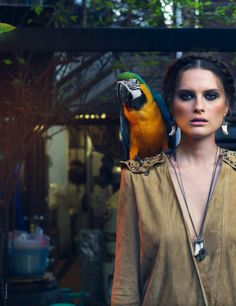 """Cahier De Voyage"", Elena Melnik by Bharat Sikka, Marie Claire Italia March 2013 Editorial Fashion, Fashion Art, Fashion Show, Travel Fashion, Marie Claire, Parts Of The Earth, Around The World In 80 Days, Parrot Bird, Poses"