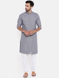 Shop Freehand Men Blue Woven Design Angrakha Straight Kurta from Shoprapy ! Ethnic Fashion, Men Fashion, Uniform Design, Sherwani, Indian Ethnic, Pajamas, Sewing, Jackets, How To Wear