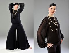 Vintage 70s Black Pantsuit // Wide Leg by OffBroadwayVintage, $320.00