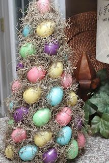 Easter egg topiary --Cute idea--I would use use speckled eggs in muted colors to make it look more primitive.