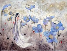 Shadowscapes - The Art of Stephanie Law - fairy and blue poppy flowers watercolor painting and drawing artwork