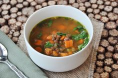 Spinach, Carrot and Lentil Soup.  This soup is so tasty and healthful. If you do the prep the night before, this will be an easy weeknight meal.