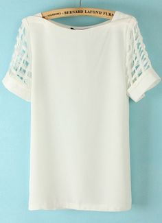 To find out about the White Hollow Short Sleeve Chiffon Blouse at SHEIN, part of our latest Blouses ready to shop online today! Love Fashion, Fashion Outfits, Shirt Blouses, T Shirt, Couture Tops, Blazers, Blouse Styles, Chiffon Tops, Dress To Impress