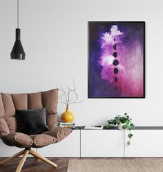 Boho Purple Moon Art by InfiniteMantra. Purple Moon Print, Moon Phase Art, Art for Yoga Studio, Art for Office, Boho Moon Decor, Luna Phase Art, Bedroom Art. A unique wall decor print of my original artwork. A one of a kind piece of art that will bring color and life to bedroom, living room, home office, any room. My art is inspired by dreams, taking you to a magical realm where anything is possible. #spaceprint #walldecor #homedecor Contemporary Art Prints, Fine Art Prints, Moon Phases Art, Moon Decor, Moon Print, Unique Wall Decor, Studio Art, Bedroom Art, Art Art