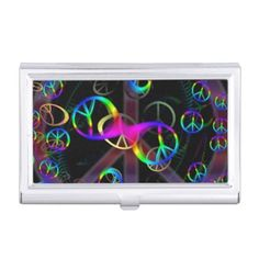 Floating Neon Peace Signs Business Card Holder