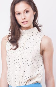Trending box-pleated polka-dot heart high-neck tops best for office via Valentine Day Special, High Neck Top, Shell Tops, Polka Dot Top, Heart, Box, Stuff To Buy, Shopping, Women