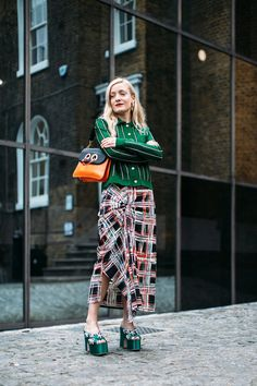 All the Cool-Girl Looks We Spotted at London Fashion Week marni skirt