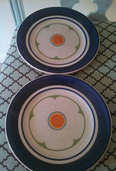 Mikasa BOB VAN Allen Snow Poppy Plates Blue Orange Green | eBay
