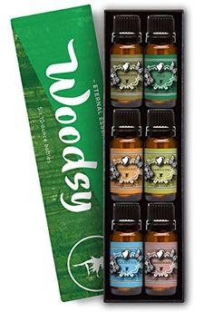 Woodsy Gift Set of 6 Premium Grade Fragrance Oils - Frankincense, Pine Needle, Cedarwood, Bamboo