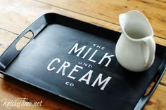 How to transform a thrift store tray into a pretty chalkboard style beauty at KnickofTime.net