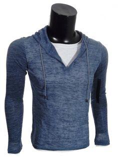 Maglia T-Shirt uomo con Cappuccio. con una t-shirt cucita. Esterno in tessuto fine semitrasparente con effetto melange. Disponibile nel colore grigio, blu, avio e verde.