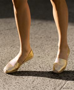 Of course these gorgeous gold textured espadrilles on Garance Dore are by Jimmy Choo. Of course they are. Gold Flats, Gold Shoes, Camilla, Jimmy Choo, Sexy Toes, Street Style, Strappy Heels, Sneakers, Cinderella