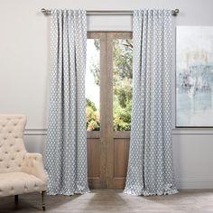 Exclusive Fabrics Casablanca Aqua/ Beige Pole Pocket Blackout Curtain Panel Pair - 15595560 - Overstock - Great Deals on Exclusive Fabrics Curtains - Mobile