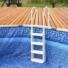 Main Access Easy Incline Pool Deck Ladder Deep Above Ground Pools, Above Ground Pool Ladders, In Ground Pools, Swimming Pool Ladders, Swimming Pools, Aluminum Handrail, Step Treads, White Deck, Pool Steps