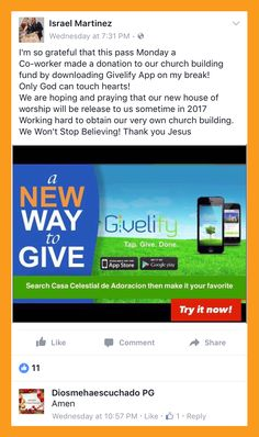 The Givelify giving app is so convenient that Israel was able to show a coworker how to make a donation to his church on his break. Thanks for helping to spread the word, Israel! Make A Donation, Non Profit, Giving, Israel, Fans, Thankful, Followers