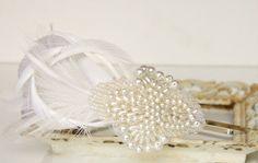 Bridal Headband Wedding Headband Pearl Headband by FancieStrands Pearl Headband, Feather Headband, Diy Headband, Headpiece Wedding, Wedding Veils, Headbands, Wedding Dresses, Hair Clasp, Pearls