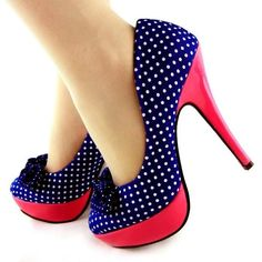Womens' Hot Pink and Blue with White Polka Dots and Bows High Heel Platform Stiletto Pumps... #fashion #shoes