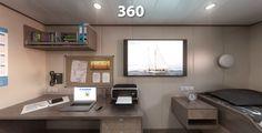Panorama 360 de infografía de camarote de capitán