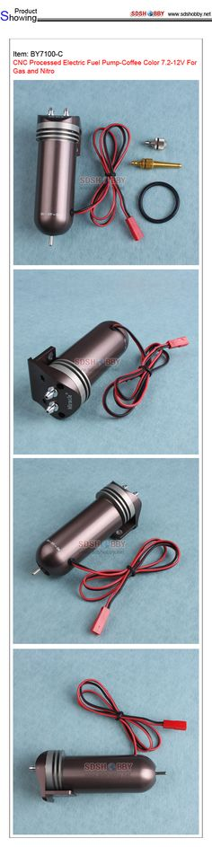CNC Processed Electric Fuel Pump-Coffee Color 7.2-12V For Gas and Nitro