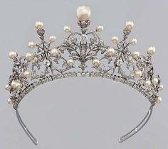 Victorian 8.50ct Rose cut Diamond Wedding Pearl Tiara/Crown #Handmade #TiaraDiadem