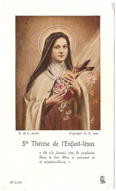 St. Theresa with Roses & Cross Antique Vintage by 12StarsVintage