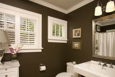 Never thought of using dark chocolate brown on my walls, but with all the white in this bathroom it looks super.