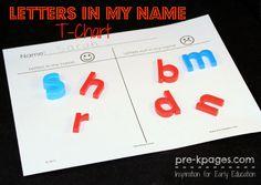 Free Printable Letters in My Name/Not in My Name T-Chart #preschool #kindergarten
