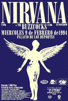 Reprint Nirvana, In Utero, Spain concert poster. Printed on high quality Epson matte paper. Size 11 x Looks great in the man cave! Part of the proceeds goes to the Wounded Warrior Program. Dave Grohl Just Cobain Nirvana Foo Fighters Punk Poster, A4 Poster, Poster Wall, Poster Prints, Rock Posters, Music Posters, Phish Posters, Carta Collage, Concert Rock
