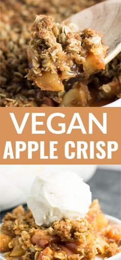 The BEST vegan apple crisp recipe - everyone goes crazy for this! The BEST vegan apple crisp recipe - everyone goes crazy for this! Healthy Vegan Dessert, Vegan Dessert Recipes, Vegan Sweets, Vegan Foods, Vegan Dishes, Apple Desserts, Fall Desserts, Dinner Recipes, Healthy Bars