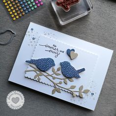 Stampin Up Karten, Stampin Up Cards, Quilled Creations, Wedding Cards Handmade, Quilling Flowers, Origami Flowers, Bird On Branch, Paper Anniversary, Bird Cards