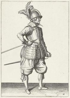Jacob de Gheyn (II) | Soldaat die zijn spies met zijn rechterhand bij zijn rechterzijde draagt, de punt schuin omhoog gericht en vlakbij zijn buik, Jacob de Gheyn (II), 1597 - 1607 | Een soldaat, ten voeten uit, naar rechts, die zijn spies (lans) met zijn rechterhand bij zijn rechterzijde draagt, de punt schuin omhoog gericht en vlakbij zijn buik. Deze prent is onderdeel van de reeks van 32 genummerde prenten van spiesdragers uit de Wapenhandelinghe.